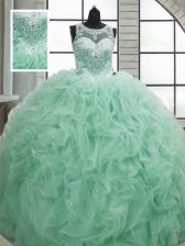 Apple Green Sweet 16 Quinceanera Dress Military Ball and Sweet 16 and Quinceanera with Beading and Ruffles Scoop Sleeveless Lace Up