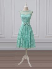 Perfect Knee Length Empire Sleeveless Apple Green Quinceanera Dama Dress Lace Up