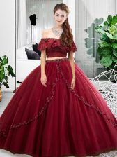 Floor Length Lace Up Quinceanera Gowns Burgundy for Military Ball and Sweet 16 and Quinceanera with Lace and Ruffles