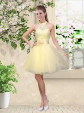 Light Yellow Sleeveless Knee Length Lace and Belt Lace Up Quinceanera Court of Honor Dress