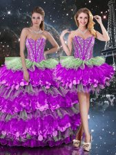 Fantastic Multi-color Quinceanera Gowns Military Ball and Sweet 16 and Quinceanera with Beading and Ruffles and Ruffled Layers Sweetheart Sleeveless Lace Up