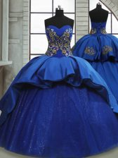 Traditional Satin and Tulle Sleeveless 15 Quinceanera Dress Sweep Train and Beading and Appliques