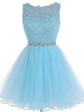 Mini Length A-line Sleeveless Baby Blue Prom Dresses Zipper