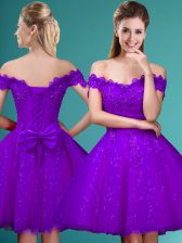 Off The Shoulder Cap Sleeves Damas Dress Knee Length Lace and Belt Eggplant Purple Tulle