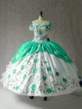 Cap Sleeves Floor Length Embroidery and Ruffles Lace Up Quinceanera Dress with Multi-color