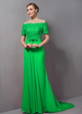 Charming Empire Short Sleeves Prom Evening Gown Sweep Train Zipper