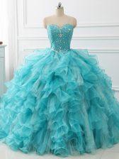 Sweetheart Sleeveless Brush Train Lace Up Vestidos de Quinceanera Aqua Blue Organza