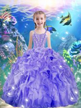 Wonderful Purple Girls Pageant Dresses Quinceanera and Wedding Party with Beading and Ruffles Straps Sleeveless Lace Up