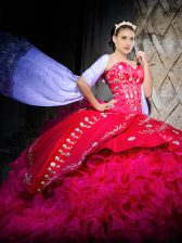 Lace Up Vestidos de Quinceanera Hot Pink and In with Embroidery and Ruffles Brush Train