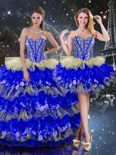 Beading and Ruffles and Ruffled Layers Vestidos de Quinceanera Multi-color Lace Up Sleeveless Floor Length
