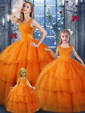 Organza Straps Sleeveless Lace Up Ruffled Layers Quinceanera Gown in Orange