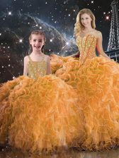 Orange Sleeveless Floor Length Beading and Ruffles Lace Up Quinceanera Gown
