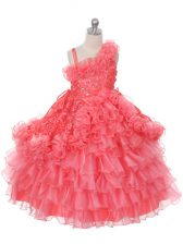 Floor Length Lace Up Little Girls Pageant Dress Watermelon Red for Wedding Party with Lace and Ruffles and Ruffled Layers