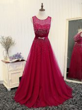 Fuchsia Prom Evening Gown Prom and Military Ball and Sweet 16 with Beading and Belt Scoop Sleeveless Brush Train Zipper