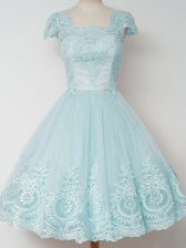 A-line Quinceanera Dama Dress Aqua Blue Square Tulle Cap Sleeves Knee Length Zipper