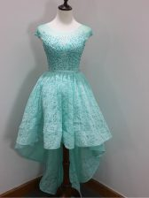 High Low Aqua Blue Quinceanera Dama Dress Lace Cap Sleeves Beading and Lace