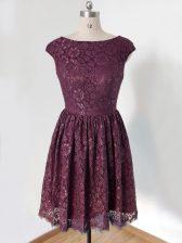Discount Lace Scoop Cap Sleeves Lace Up Lace Vestidos de Damas in Dark Purple