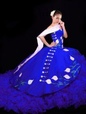 Pretty Sleeveless Embroidery Lace Up Quinceanera Dresses with Royal Blue Brush Train