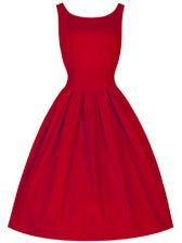 Wonderful Red Scoop Lace Up Ruching Court Dresses for Sweet 16 Sleeveless