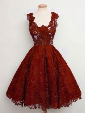Perfect Straps Sleeveless Lace Up Dama Dress for Quinceanera Rust Red Lace