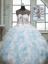 Discount Blue And White Organza Lace Up Scoop Sleeveless Floor Length Quinceanera Gowns Beading and Ruffles