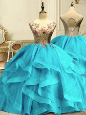Sumptuous Floor Length Ball Gowns Sleeveless Aqua Blue Ball Gown Prom Dress Lace Up