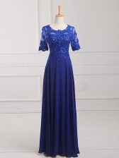 Scoop Half Sleeves Dress for Prom Floor Length Lace and Appliques Royal Blue Chiffon