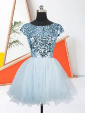 Amazing Light Blue A-line Organza Scoop Short Sleeves Sequins Mini Length Lace Up Dress for Prom
