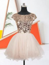 Attractive Mini Length A-line Short Sleeves Peach Prom Evening Gown Lace Up