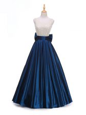 Delicate Navy Blue Backless Dress for Prom Beading and Bowknot Sleeveless Floor Length