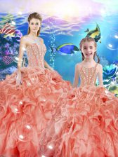 Watermelon Red Sweetheart Lace Up Beading and Ruffles Quinceanera Dresses Sleeveless
