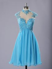Captivating Lace and Appliques Homecoming Dress Baby Blue Zipper Sleeveless Knee Length