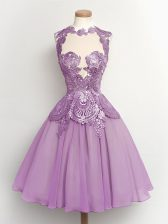Glamorous Lilac A-line High-neck Sleeveless Chiffon Knee Length Lace Up Lace Dama Dress