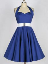 Extravagant Taffeta Halter Top Sleeveless Lace Up Belt Court Dresses for Sweet 16 in Blue