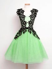 Gorgeous Knee Length Dama Dress for Quinceanera Straps Sleeveless Lace Up