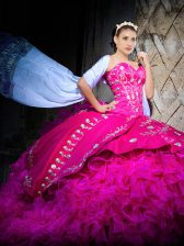 Sweetheart Sleeveless Brush Train Lace Up Quinceanera Gowns Fuchsia Organza