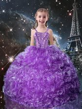 Eggplant Purple Ball Gowns Organza Straps Sleeveless Beading and Ruffles Floor Length Lace Up Kids Formal Wear