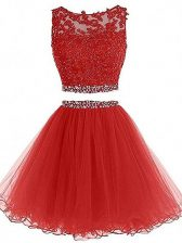 Red Sleeveless Beading Mini Length