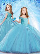 Most Popular Organza Cap Sleeves Child Pageant Dress Brush Train and Beading