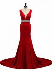 Customized Wine Red V-neck Neckline Beading Prom Party Dress Sleeveless Zipper
