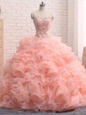 Sleeveless Beading and Ruffles Zipper Sweet 16 Dress