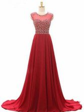Suitable Wine Red Lace Up Prom Evening Gown Beading Sleeveless Brush Train