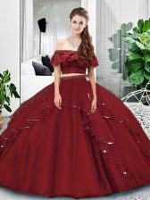 Graceful Burgundy Tulle Lace Up Quinceanera Gowns Sleeveless Floor Length Lace and Ruffles
