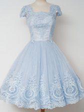 Glittering Light Blue Cap Sleeves Knee Length Lace Zipper Quinceanera Dama Dress
