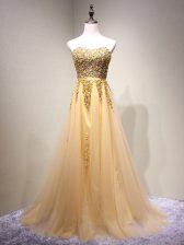 Custom Fit Sleeveless Tulle Floor Length Lace Up Prom Evening Gown in Champagne with Beading