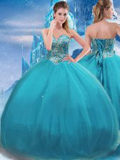 New Style Tulle Sleeveless Floor Length Ball Gown Prom Dress and Appliques