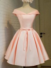 Knee Length Peach Dama Dress for Quinceanera Off The Shoulder Cap Sleeves Lace Up