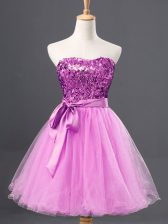 Tulle Sweetheart Sleeveless Zipper Sequins Prom Gown in Lilac