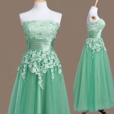 Fitting Turquoise Empire Appliques Quinceanera Court of Honor Dress Lace Up Tulle Sleeveless Tea Length