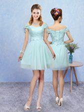Superior Aqua Blue Short Sleeves Mini Length Lace Lace Up Vestidos de Damas